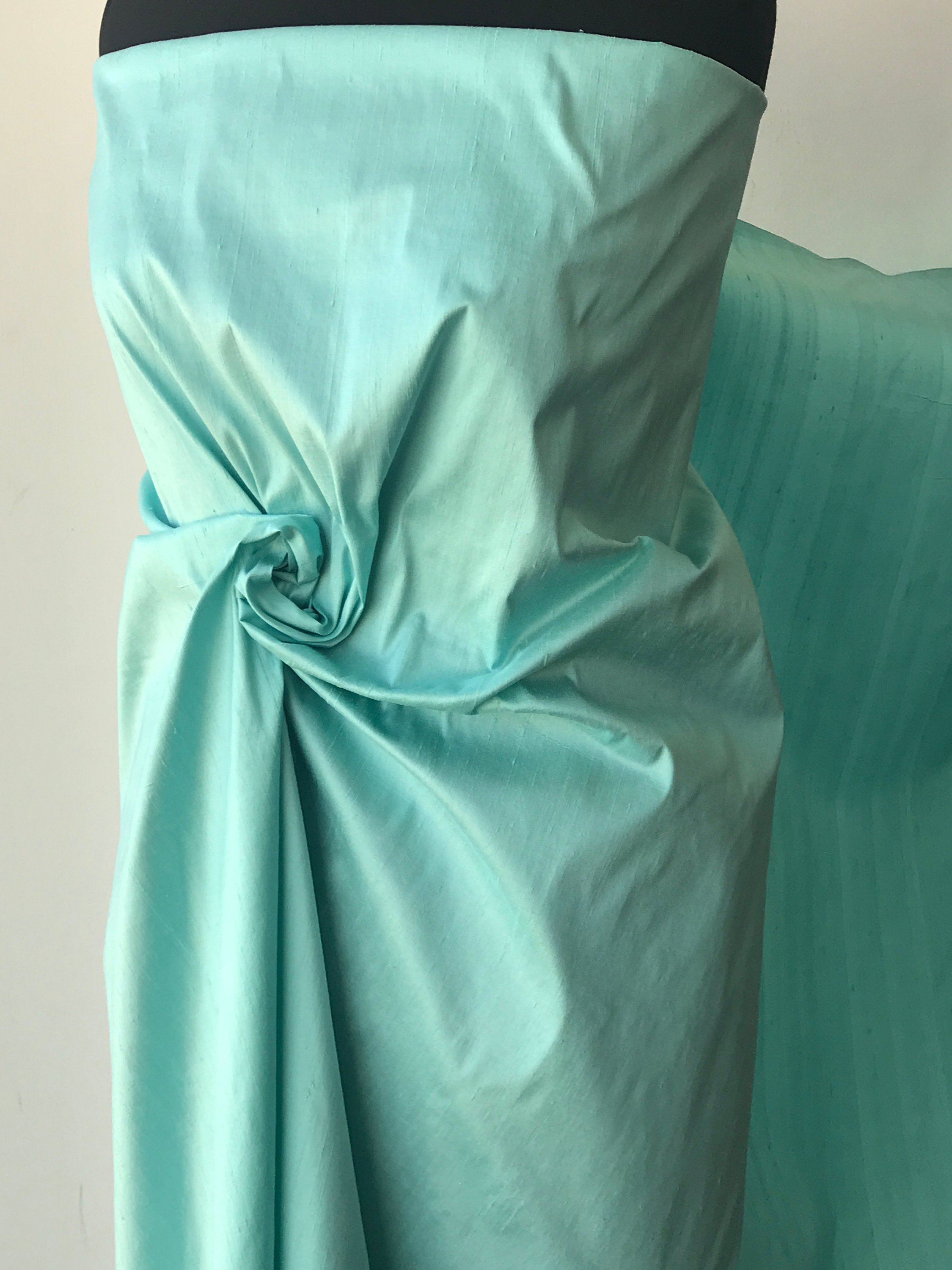 "Light green mint 100% dupioni silk fabric yardage By the Yard 54"" wide raw silk Soie Sauvage"
