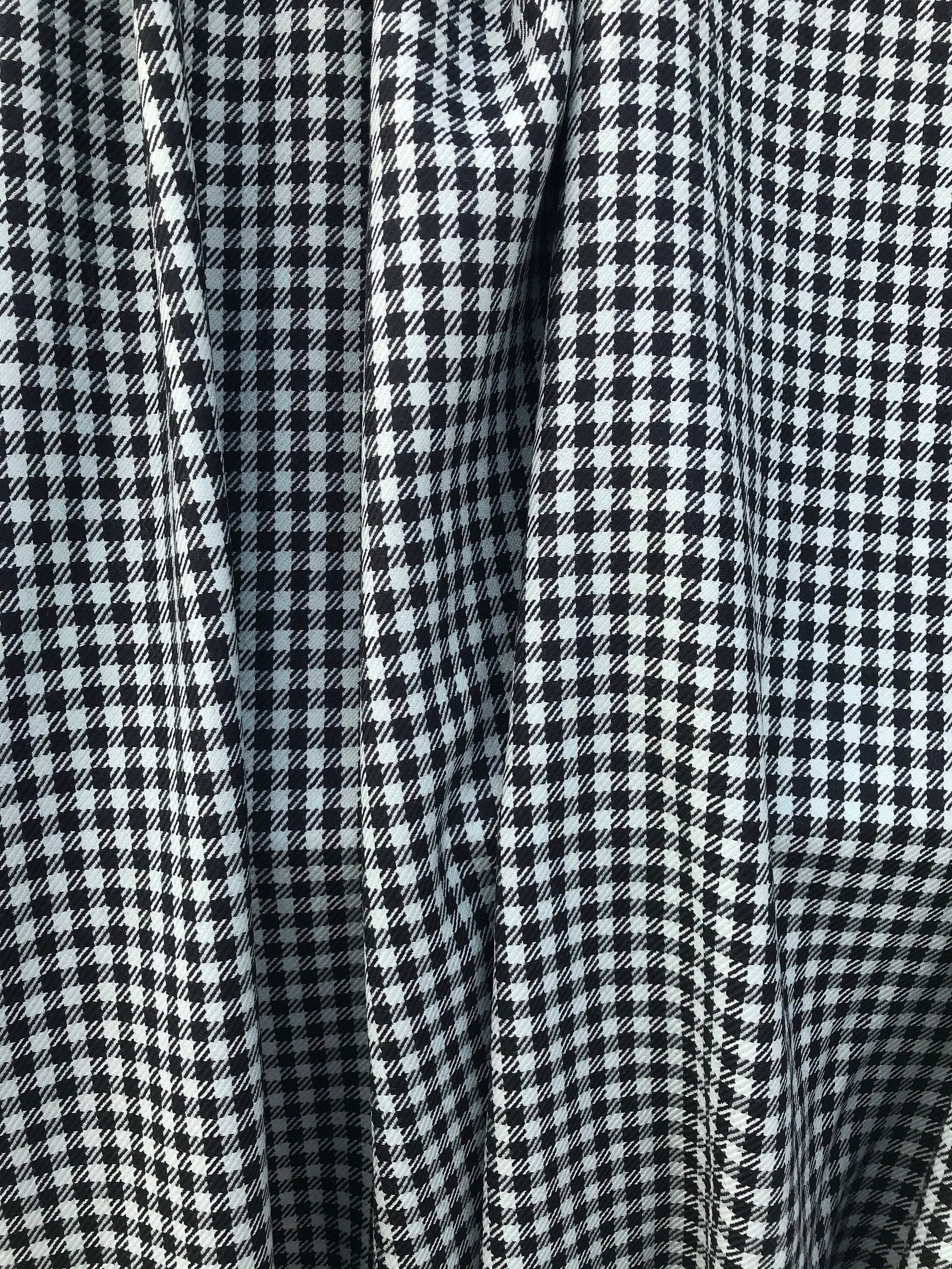 baby blue on black wool check fabric , pure wool made in Italy  suiting skirt pants coat fabric