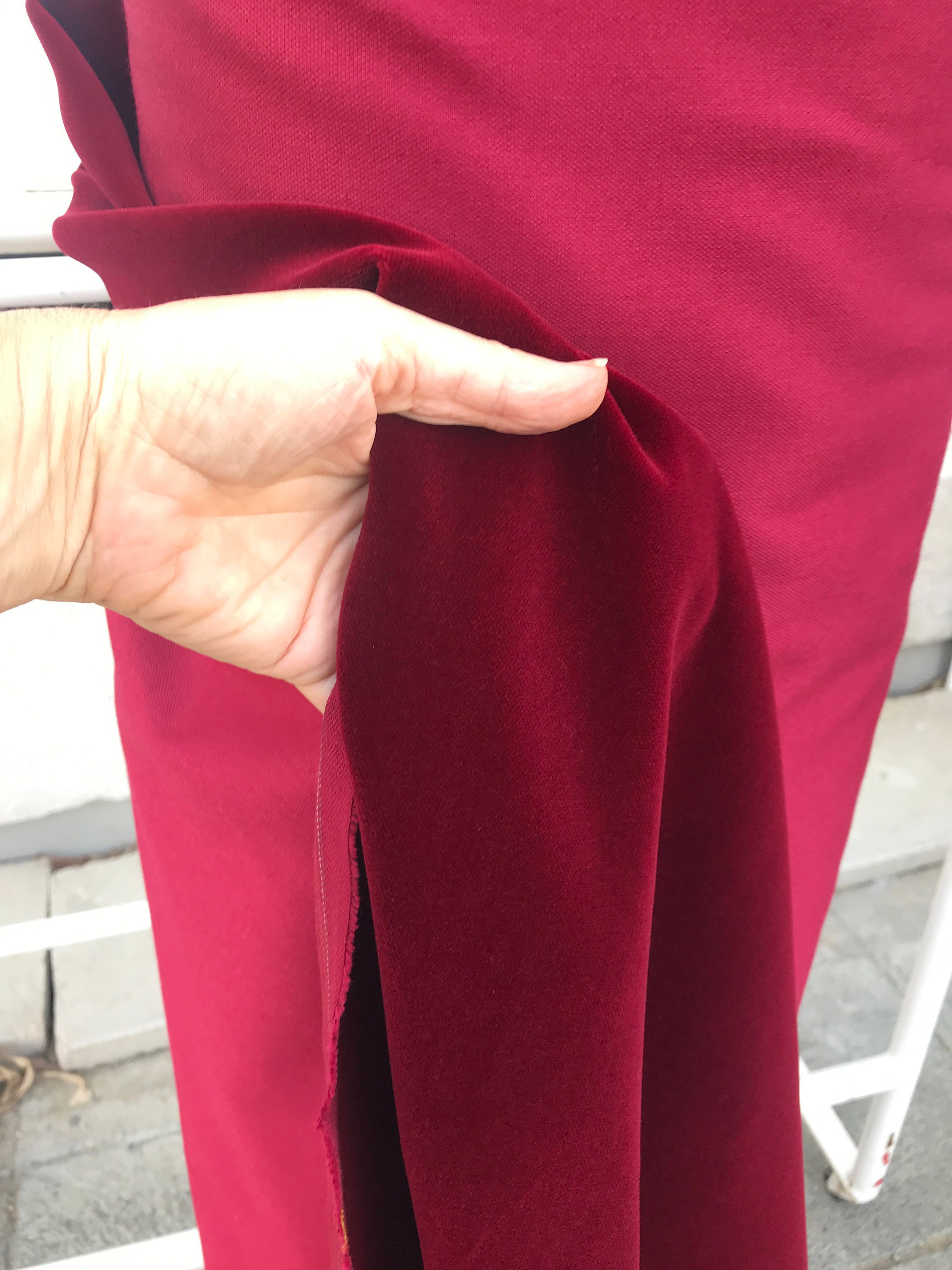Burgundy Red cotton velvet fabric, premium quality by Niedick 150cm wide velvet coating