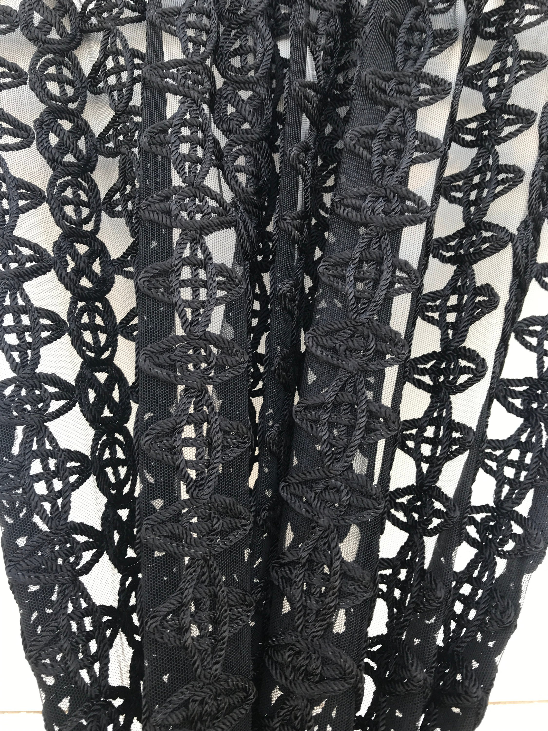 Black corded guipure lace fabric from Marco Lagattolla,  bridal