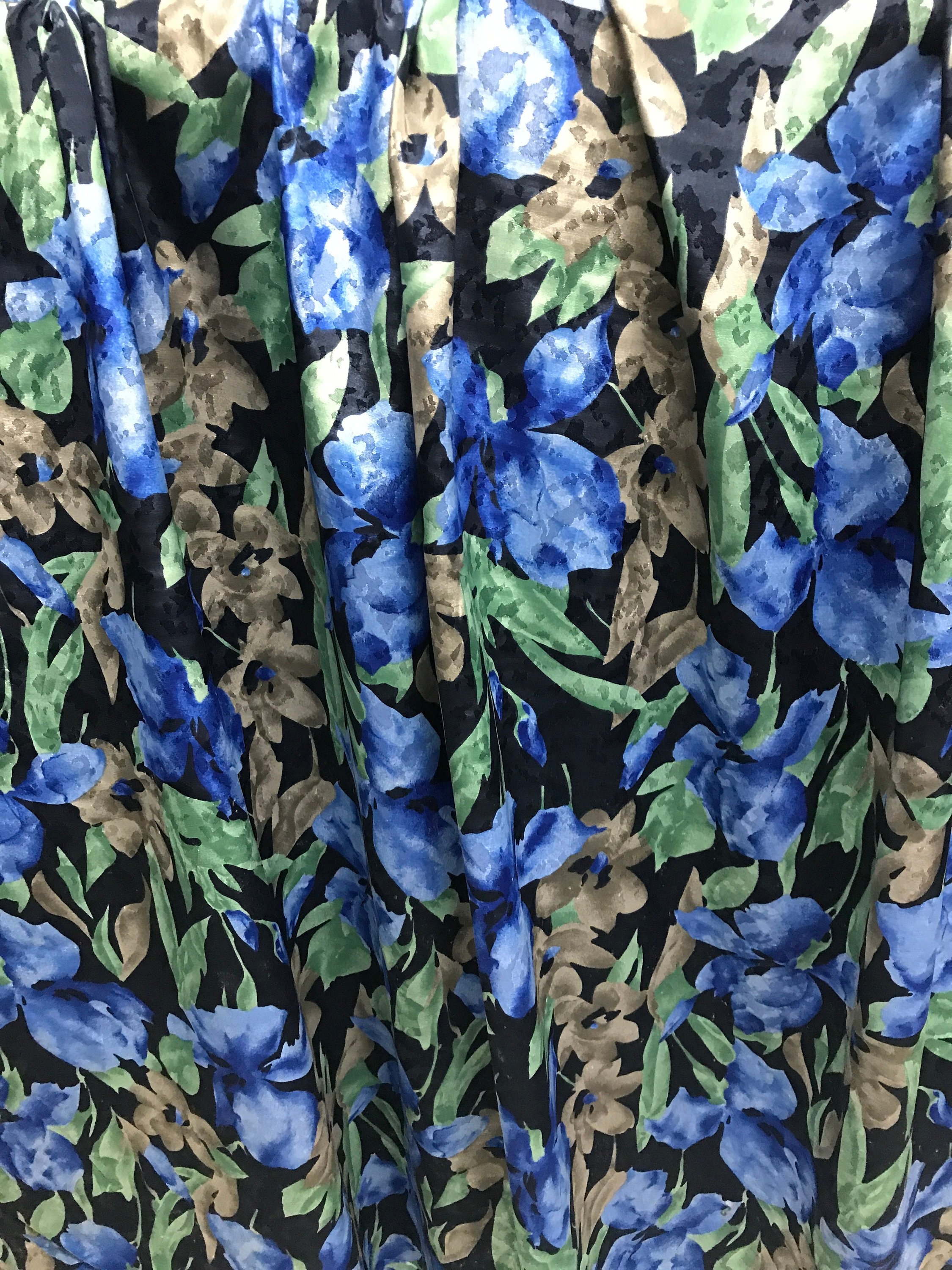 polyester print fabric jacquard base floral blue green 140cm wide