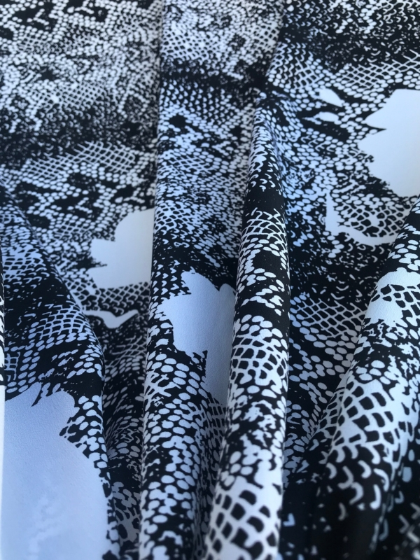 black on white mixed silk print fabric python design 140cm wide
