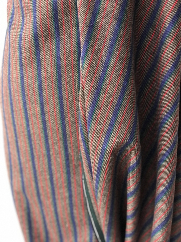 multi colour stripe suiting fabric winter fabric wool mix wide stripes
