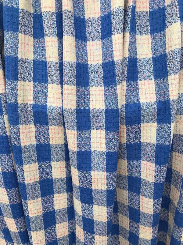 blue white pink large check wool fabric, tartan plaid, fancy wool suiting, skirt, jacket coat fabric pure wool