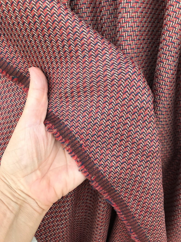 multi colour fine wool suiting fabric, pure wool , fancy weave, burnt orange russet beige