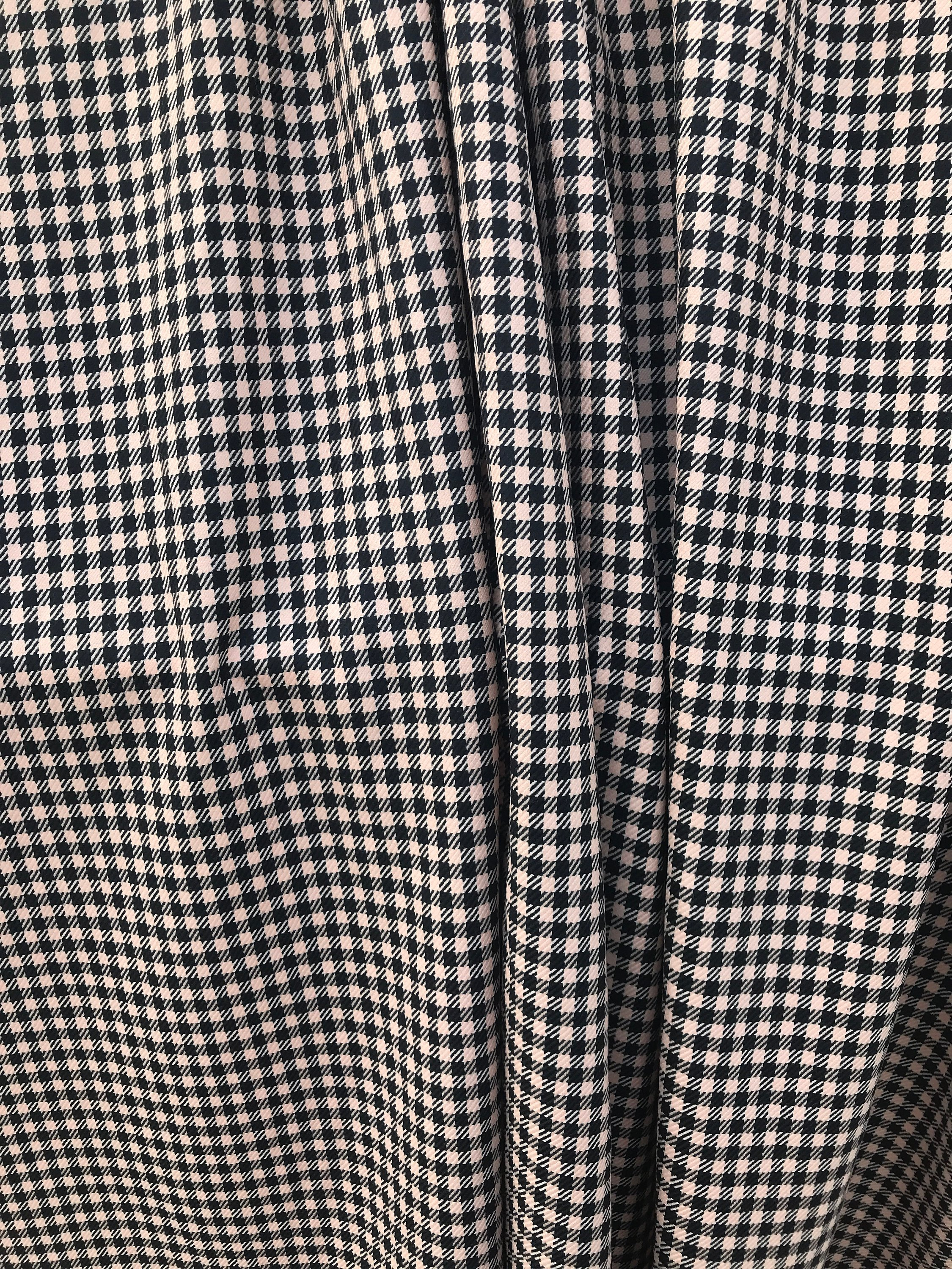 baby pink on black wool check fabric , pure wool made in Italy  suiting skirt pants coat fabric