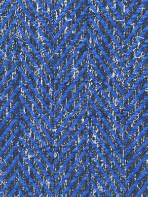 large herring bone chevron design, cobalt blue on charcoal grey winter fabric wool mix suiting coating cape skirt poncho fabric