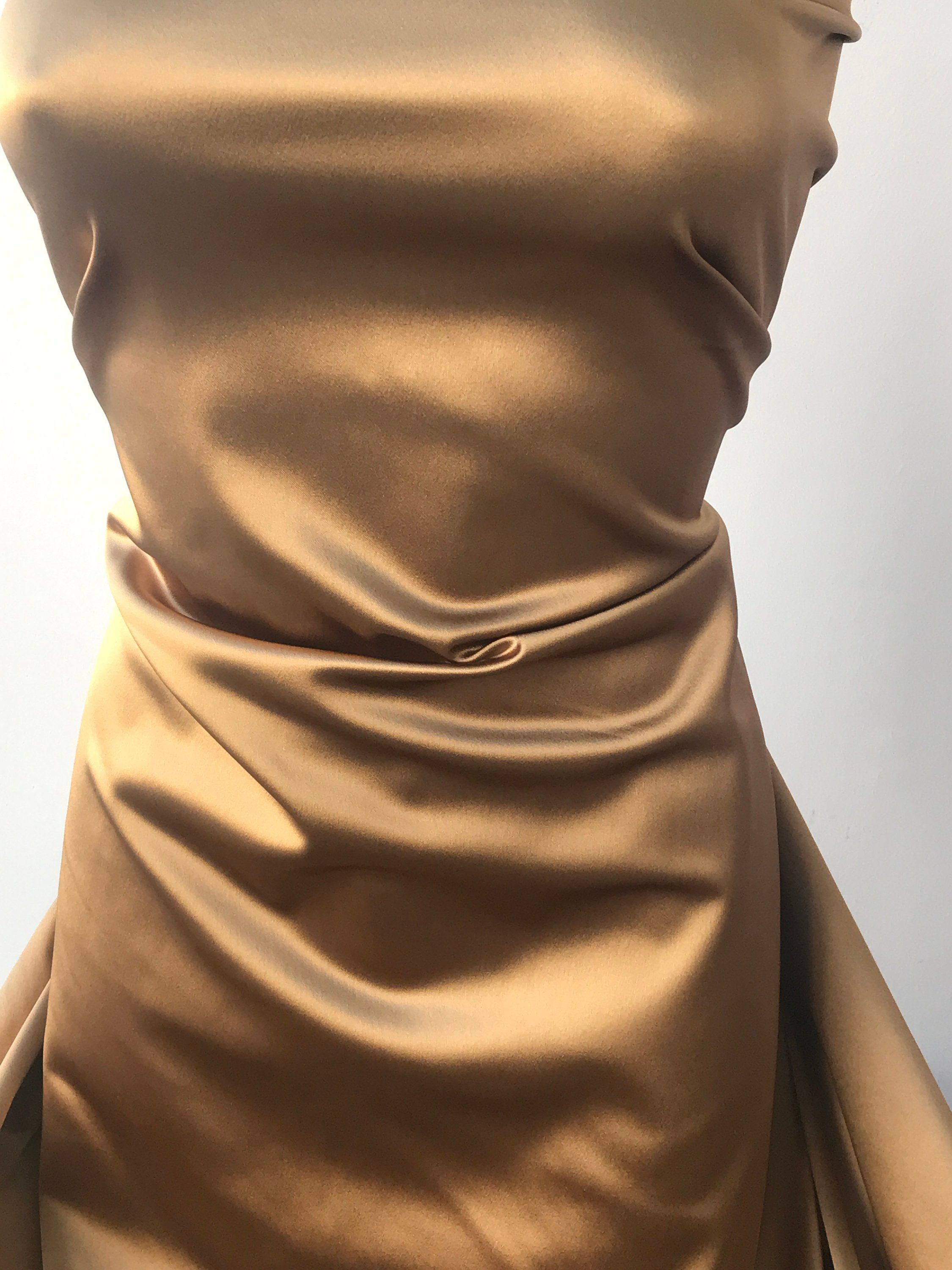 Gold Stretch Satin Fabric Caramel Gold 2 Way Stretch Satin Fabric Bodikian Textiles