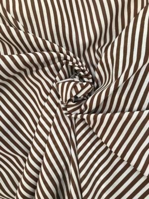 brown on white striped cotton fabric, Swiss cotton, seersucker, shirting, 140cm wide