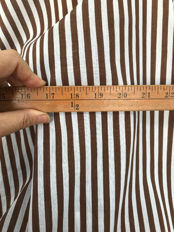 brown on white striped cotton fabric, Swiss cotton, seersucker, shirting, 140cm wide