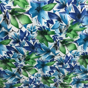 polyester crepe de chin print fabric floral blue green flowers white background 140cm wide