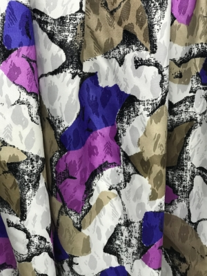 polyester print fabric jacquard base abstract print purple pink white 140cm wide