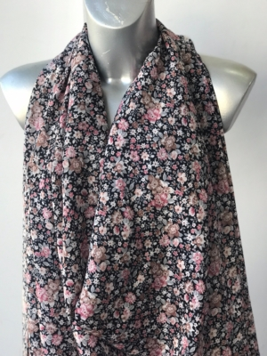 crepe de chin silk mix fabric small floral pattern 140cm wide