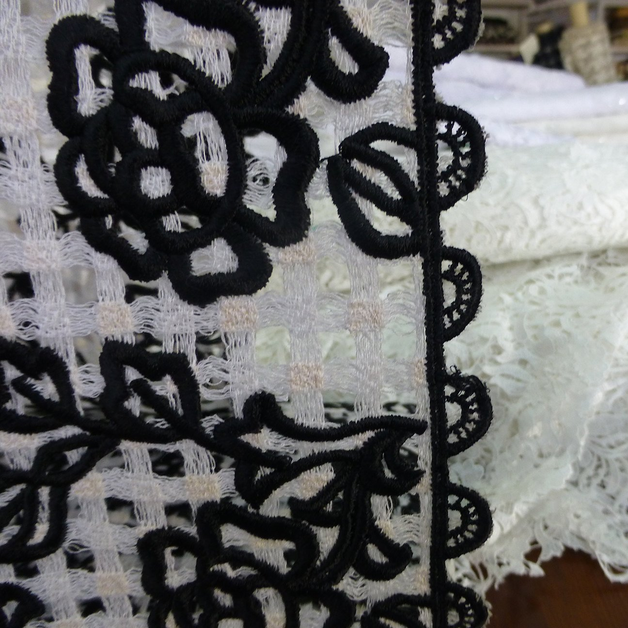 Black on white Guipure lace fabric high end vintage Marco Lagattolla