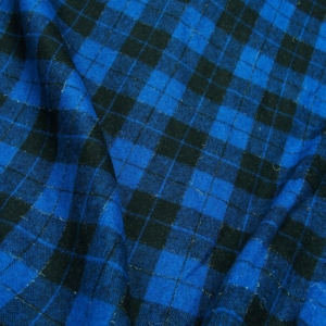 Check tartan flannel fabric black with cobalt blue made in Italy skirting shawl scarf throw pillow sofa throw decoration