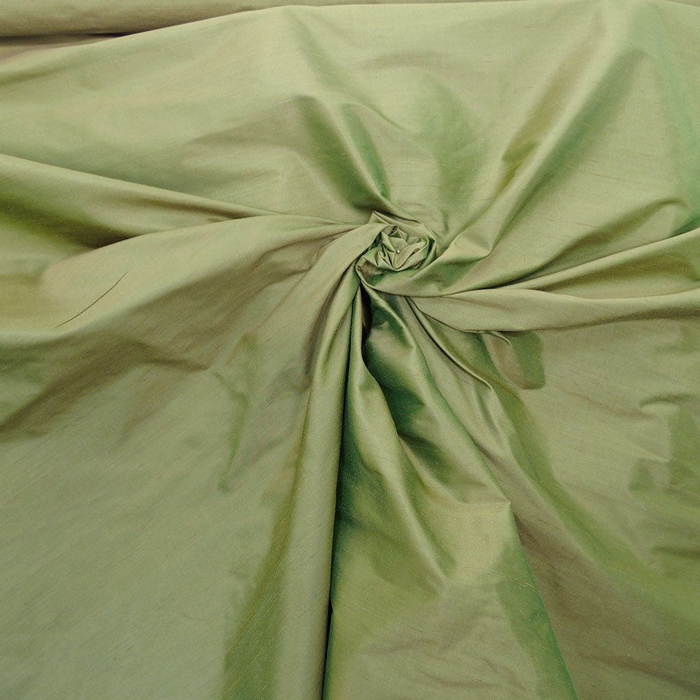 "Olive Green iridescent 100% dupioni silk fabric yardage By the Yard 54"" wide raw silk Soie Sauvage"