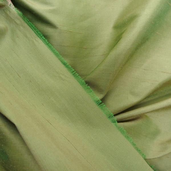 "Olive Green iridescent 100% dupioni silk fabric yardage By the Yard 54"" wide raw silk Soie Sauvage"