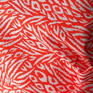 cotton jacquard fabric abstract print coral and white thick stiff shift dress formal summer suiting bridal 140cm made in Italy