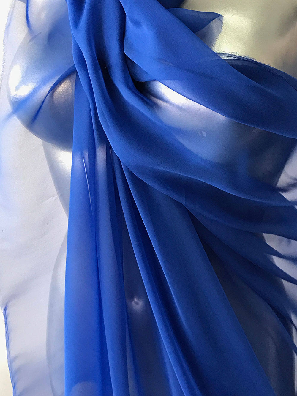 Silk chiffon fabric blue semi opaque 140cm wide
