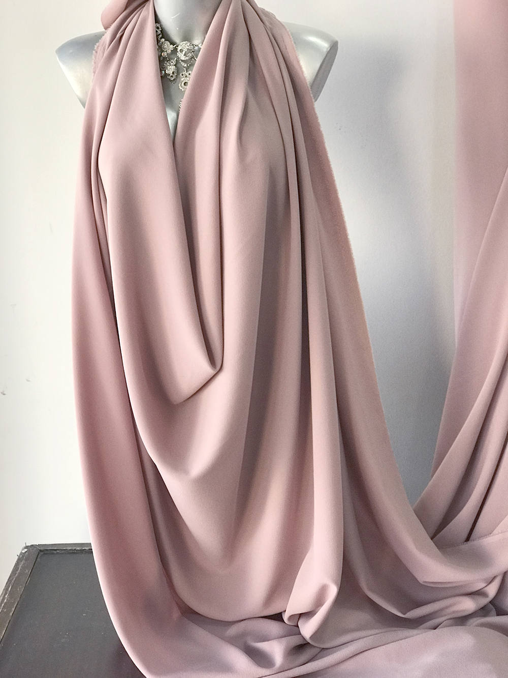 Powder Pink stretch crepe fabric,  2 way stretch pebble crepe textured polyester spandex 150cm 60 inches