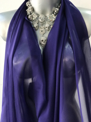 Silk chiffon fabric blue with purple tone semi opaque 140cm wide