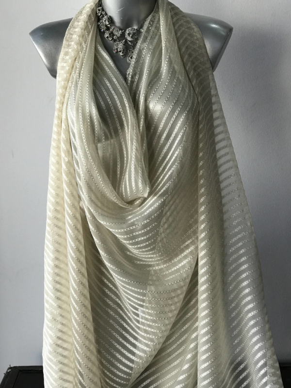 silk Devore burn out fabric, ivory cream striped silk with gold metallic Lurex thread pure silk