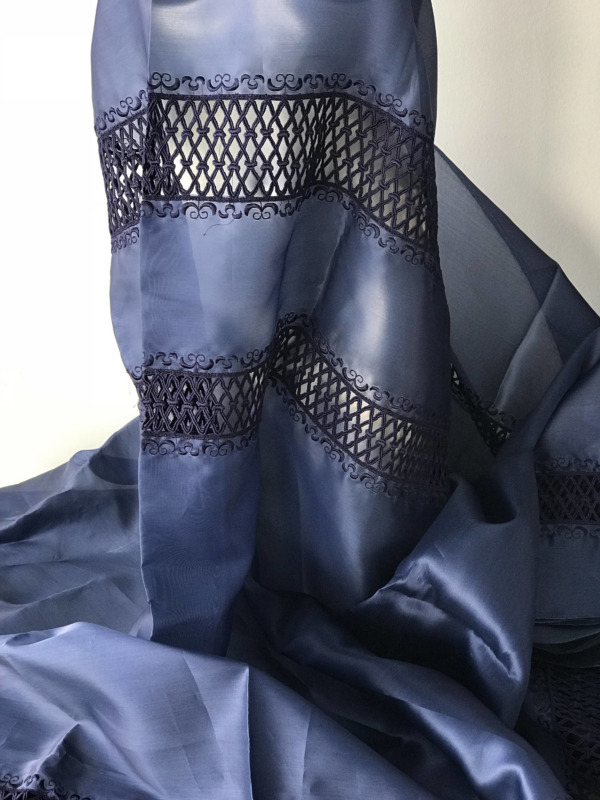 silk organza with embroidery navy blue cut out border embroidery dark navy blue pure silk 140cm wide