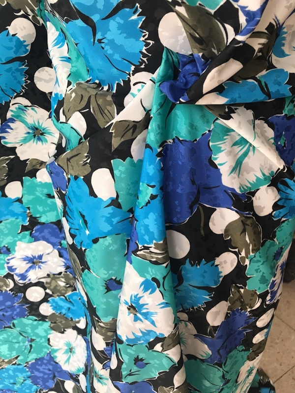 polyester print fabric jacquard base floral green  blue white 140cm wide
