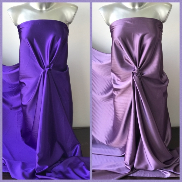 purple satin fabric polyester spandex 2 way stretch lining under lace lingerie colour options 150cm wide