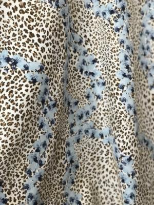 stretch cotton gabardine animal print with flowers Cotton Spandex 2 way stretch German production 140cm wide