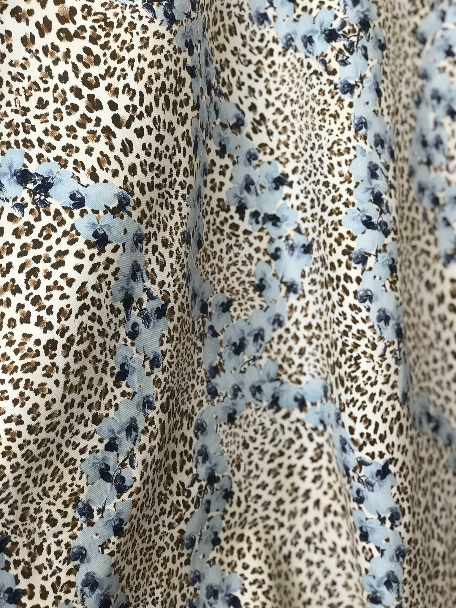 stretch cotton gabardine animal print with flowers Cotton Spandex 2 way stretch German production 140cm wide