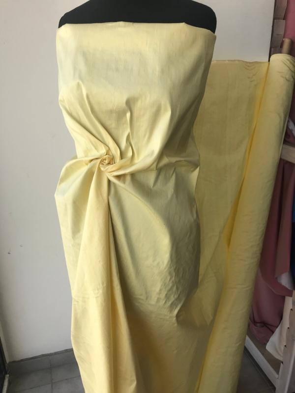 "Soft yellow 100% dupioni silk fabric yardage By the Yard 54"" wide raw silk Soie Sauvage"