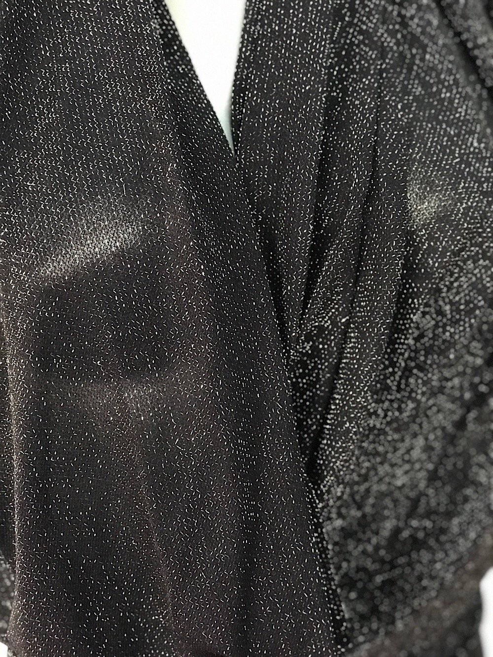 Silver on black metallic thread lurex knitted jersey fabric 150cm wide 2 way stretch bridal clothing Festive season Christmas decotation