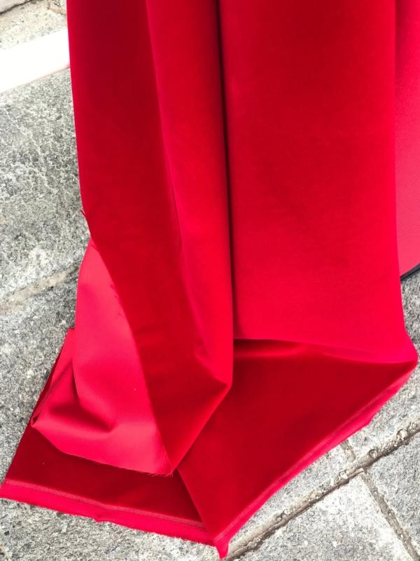 Red cotton velvet fabric, premium quality by Niedick 150cm wide velvet coating