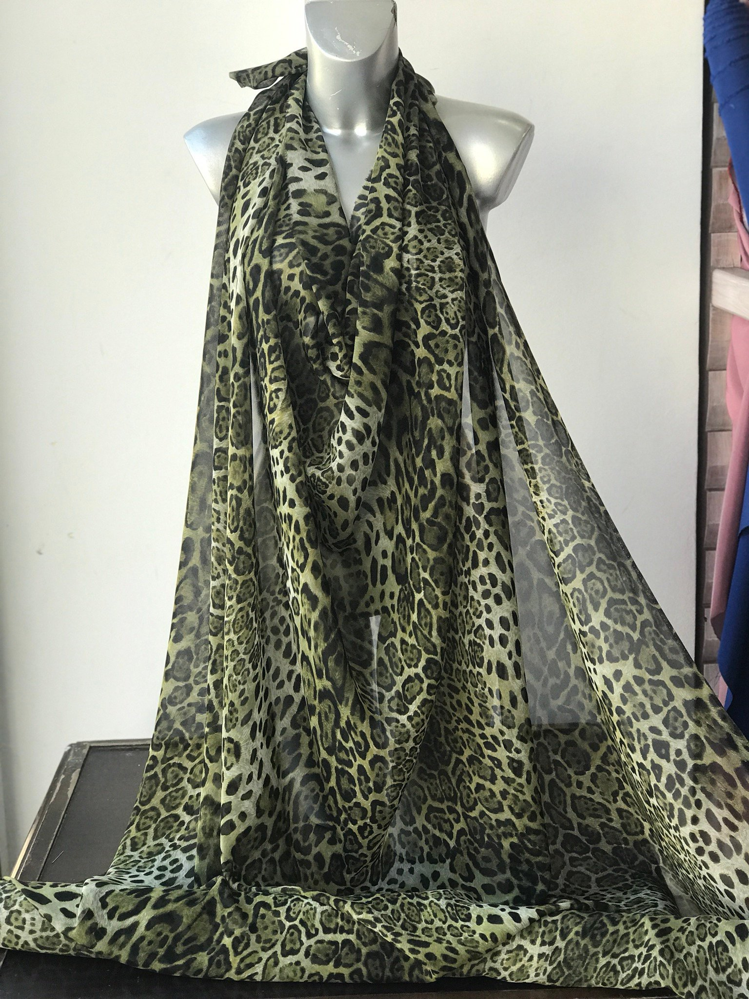 silk chiffon fabric animal print leopard design olive green shades semi opaque multi color kaftan kimono evening 140cm wide Italy