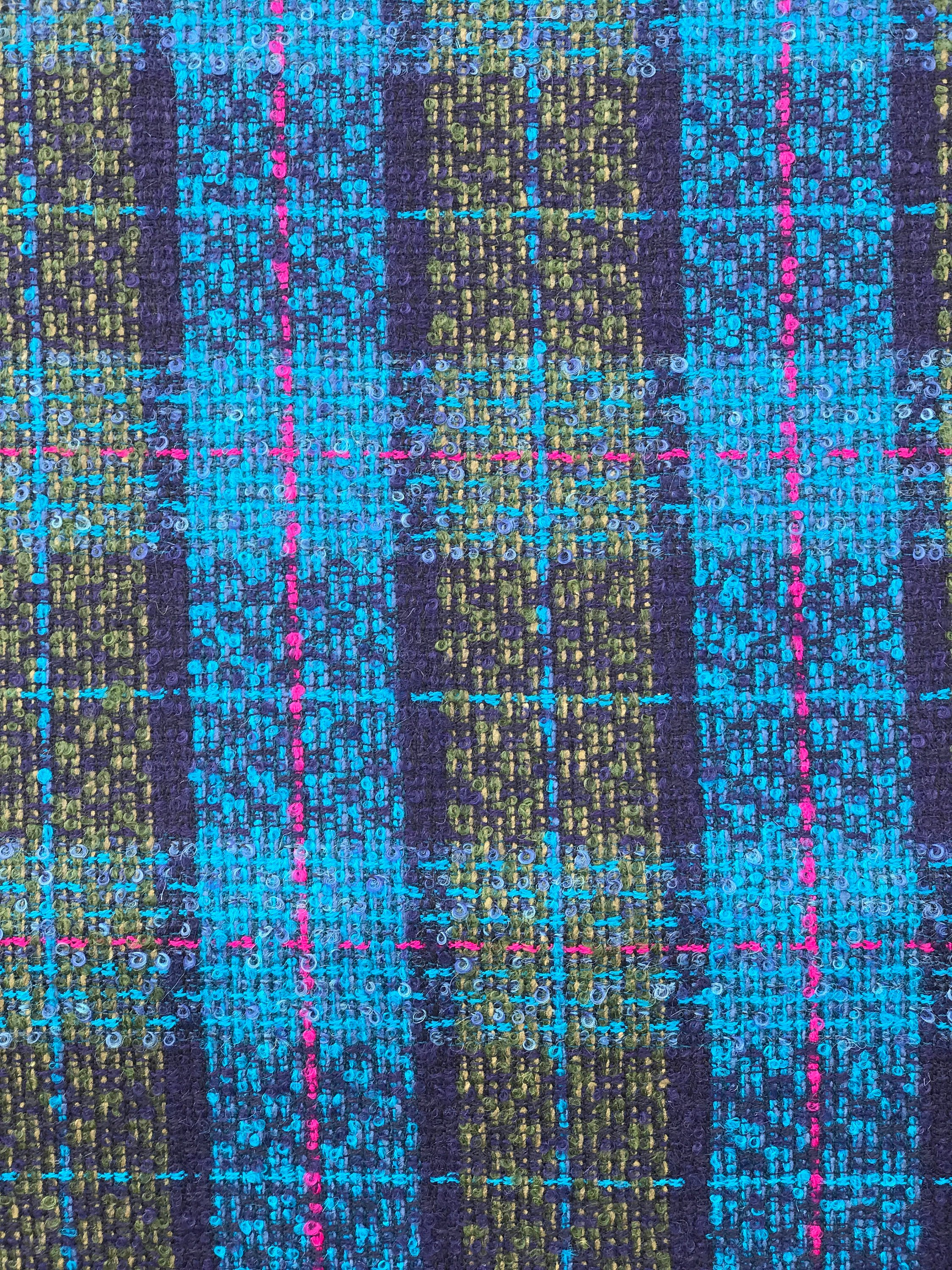 teal blue wool check fabric