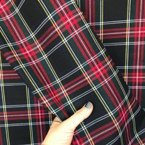 Red Black tartan fabric, poly viscose tartan, tartan gabardine kilt plaid skirt sewing dressmaking 150cm 60""