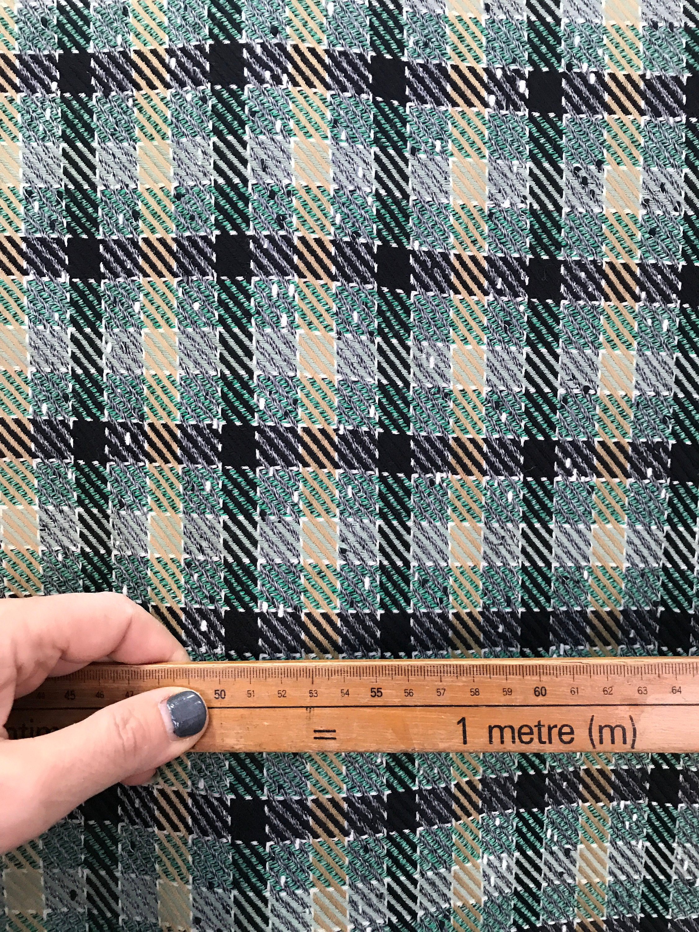 green check wool fabric multi colour large check pattern suiting skirt coat fabric pure wool 150cm wide