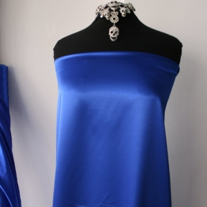 polyester spandex satin fabric shiny stretch satin fabric dress shirt lingerie fuchsia pink cobalt blue teal blue 150cm wide