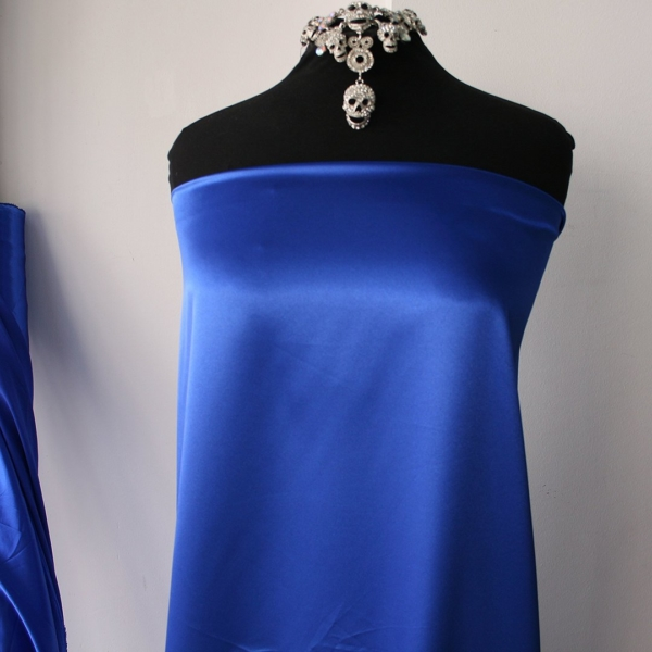 polyester spandex satin fabric shiny stretch satin fabric dress shirt lingerie fuchsia pink cobalt blue teal blue 150cm wide