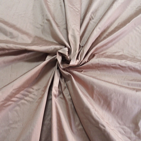 Taupe light brown Dupioni silk