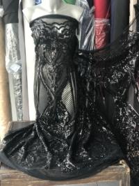 black sequins lace fabric