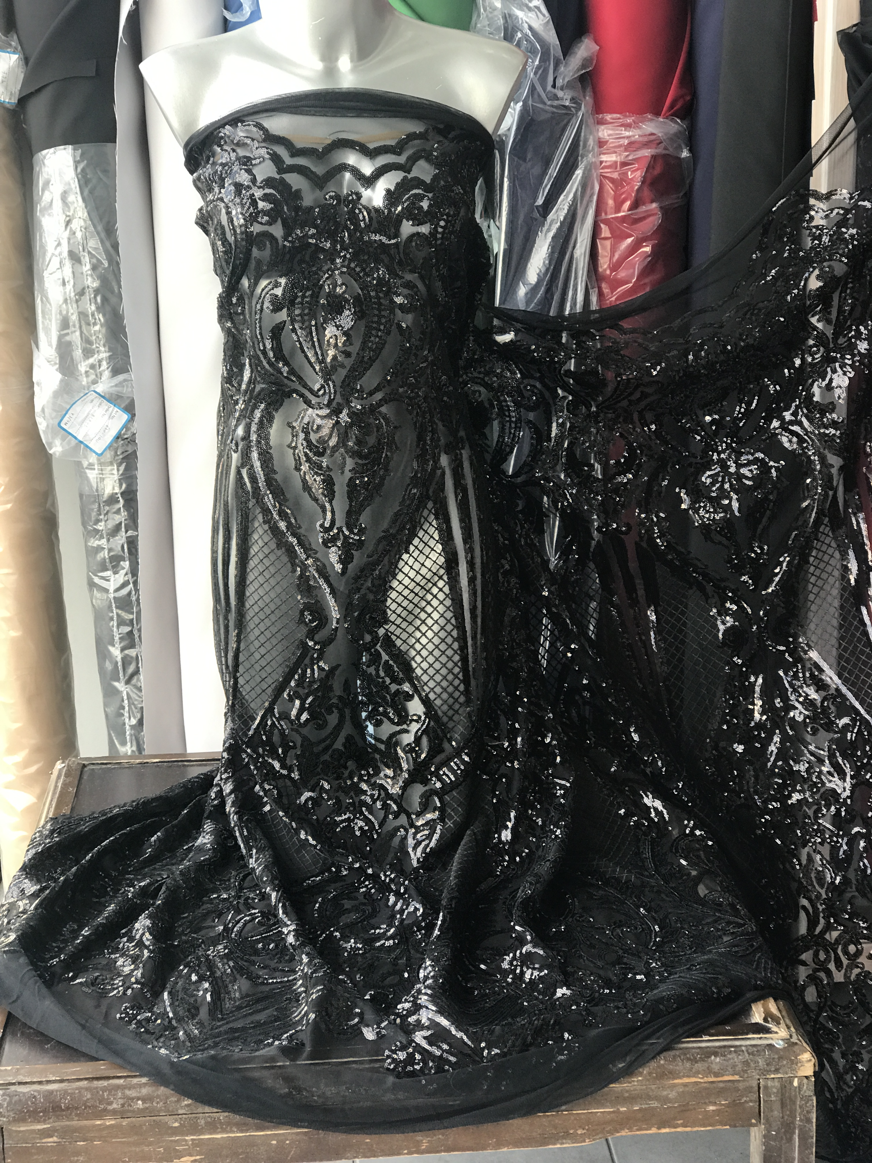 black sequins lace fabric