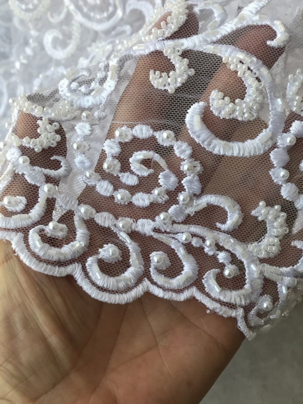 white bridal lace fabric