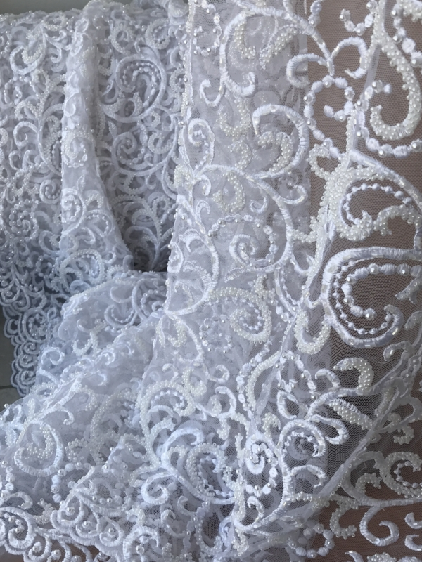 white beaded lace by the yard