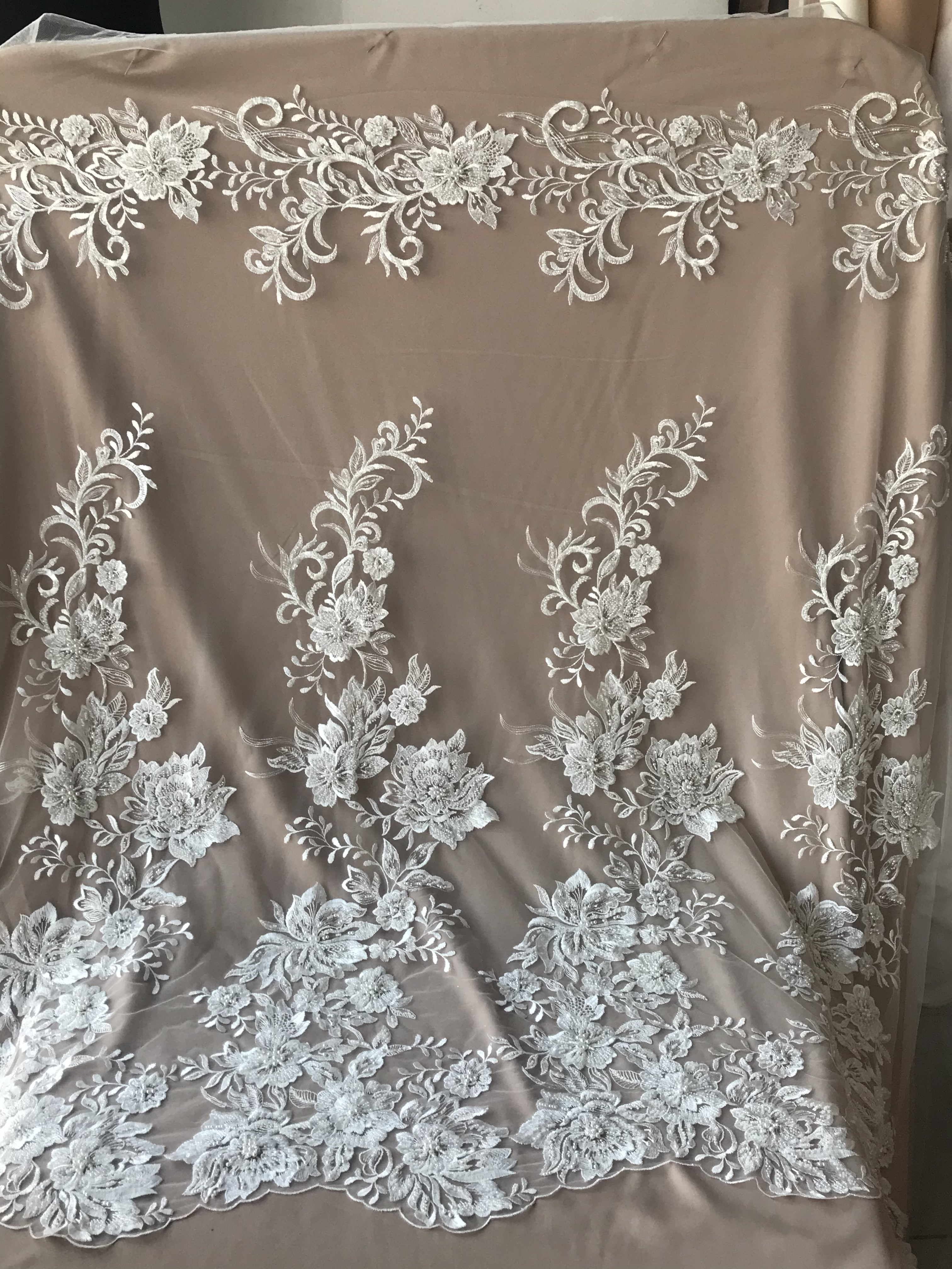 bridal tulle lace fabric with pearls tulle lace fabric black pearl bead tulle fabric with Gradient colors heavy bead mesh lace fabric