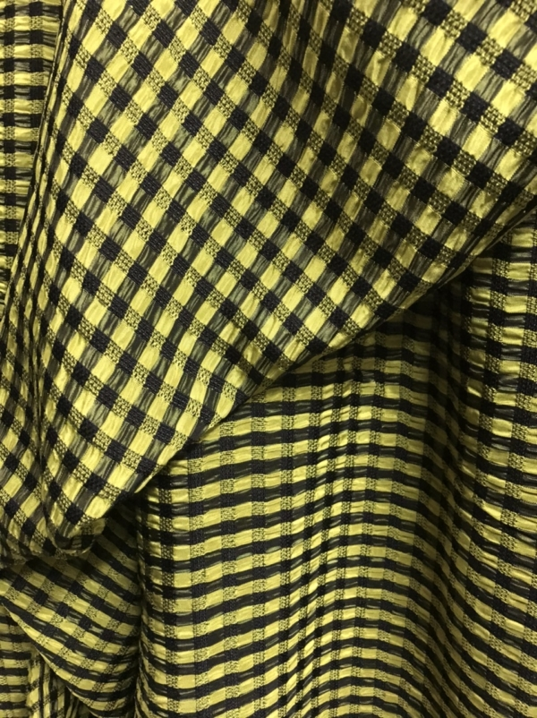 Yellow black check fabric