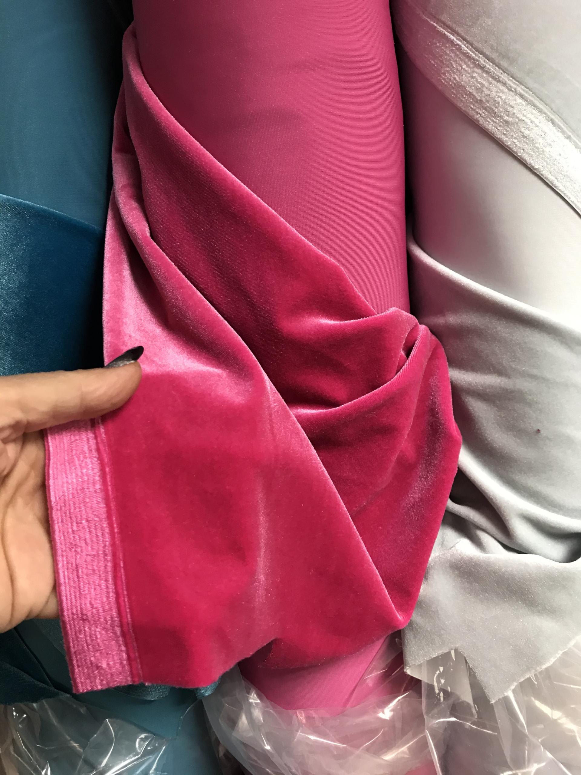 pink stretch velvet