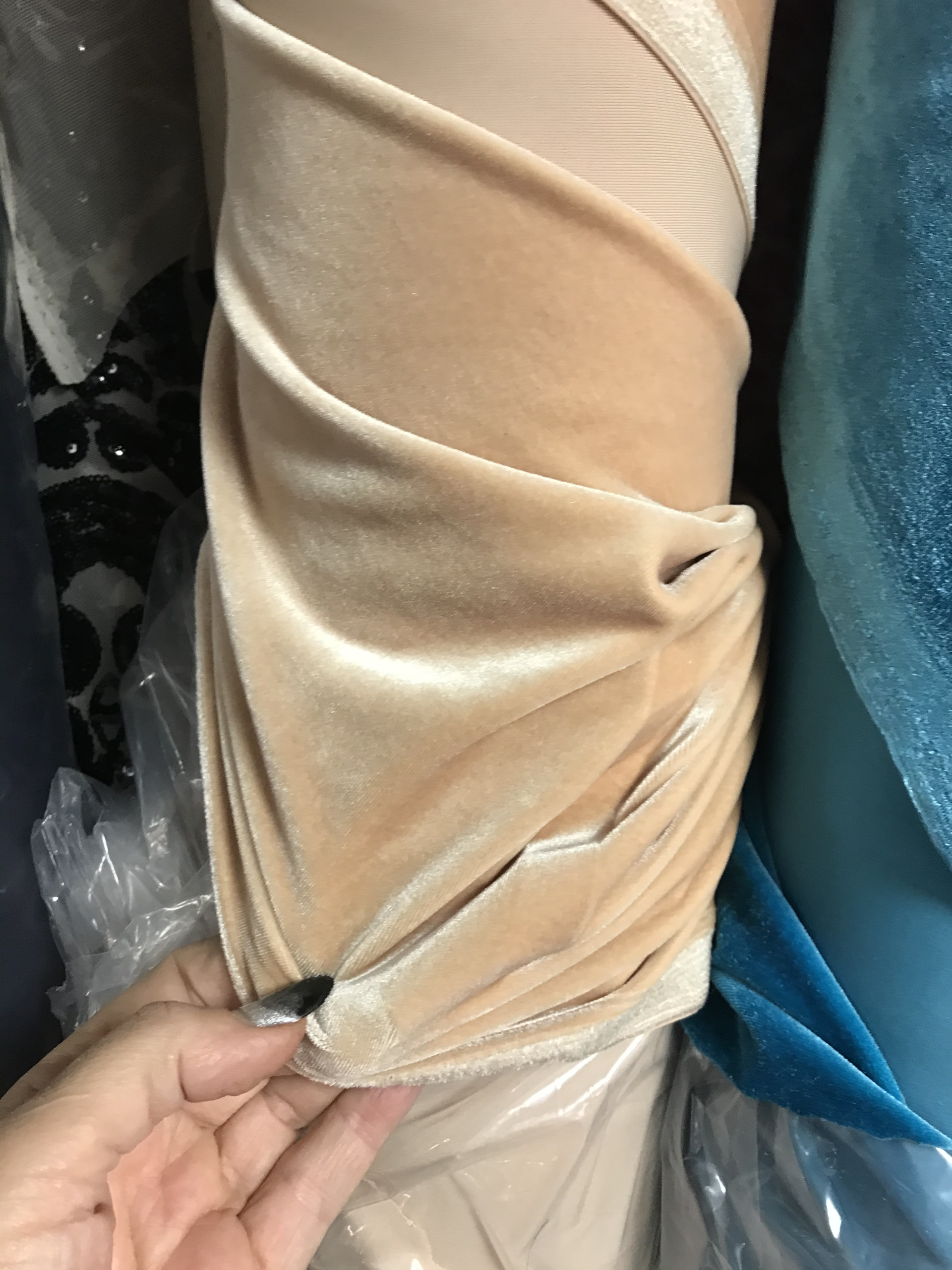 beige stretch velvet