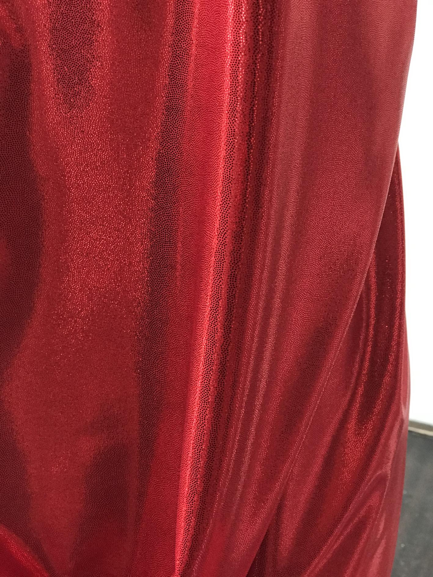 red metallic dot shine lycra